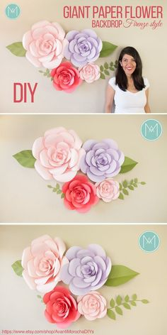 DIY Giant Paper Flower Backdrop - Firenze style - Wedding backdrop, event decor. Buy the patterns with one click on my Etsy shop https://www.etsy.com/shop/AvantiMorochaDIYs Please don't forget to share your creations on my Facebook page https://www.facebook.com/LatinMorocha or tag me on Instagram @avantimorocha_1 I'd love to see them :):