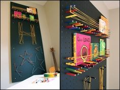 Create a pegboard using colored pencils and string - 20 Easy DIY Wall Art Ideas