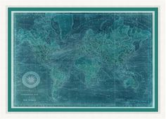 Ocean currents flow between continents in this seafarer-worthy world map in aqua and teal, making it ideal for a coastal retreat. (LJ-4225)