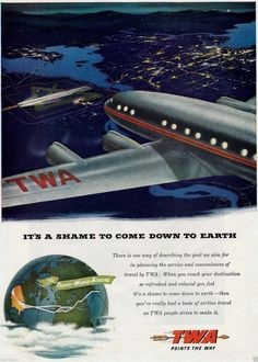 TWA Constellation 1948 http://www.pinterest.com/pacificwhim/she-s-only-happy-at-35-000-ft/