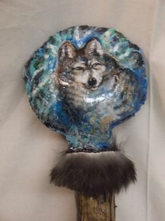Coyote Arts – Gray wolf rattle   Tracy Jon Powell © Copyright 2015   We take special orders for drum and rattles too.   Special orders at: artistinutah@yahoo.com  Coyote Arts Salt Lake City, Utah – USA My eBay store site: - http://stores.ebay.com/Coyote-Arts-Salt-Lake-City-Utah