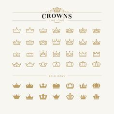 Crowns outline icons set vector