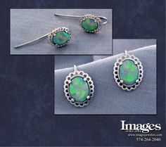 These crystal opal earrings were designed to match an existing ring a customer brought in. Cast in and set with two crystal opals, these earrings have a great play of color. Opal Earrings, Drop Earrings, Custom Earrings, Custom Jewelry Design, October Birth Stone, Opals, Sterling Silver Pendants, Birthstones, Jewels
