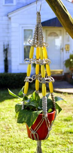 Handmade Natural Hemp Macrame Plant Hanger with Bright Yellow Beads Happiness by Macramaking on Etsy
