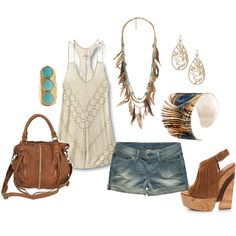 Love everything except the shoes. I would wear the shoes with another outfit and some turquoise sandals with this.