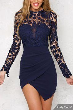 Wrap Front Irregular Hem Long Sleeves Mini Dress with Lace Details -YOINS