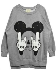 Grey Long Sleeve Rivet Mickey Print Sweatshirt pictures