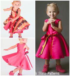 Amaryllis Dress Pattern by Blank Slate Patterns. Reversible twirly dress