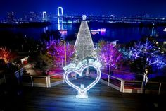 A giant Christmas tree lights up Odaiba with Rainbow Bridge in the background in Tokyo.