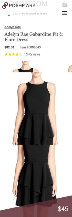 Black Fit&Flare Cocktail/Day Dress AdelyenRae Black Fit&Flare Cocktail/Day Dress.       Black Fit&Flare Cocktail/Day Dress AdelyenRae Garbardine Fit & Flare Dress in Black  Currently $82 at Nordstrom! Cascading tiers create a dreamy twirl on this pretty garbardine woven dress Back zip closure Jewel neck Cutaway shoulders Lined Dry clean or hand wash cold, line dry 50% nylon, 50% cotton Dresses