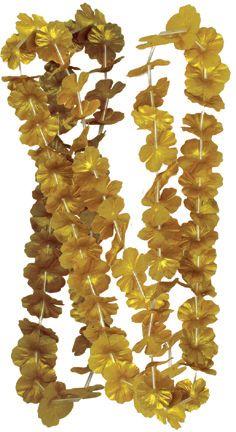 Lei flores oro, para regalar a los invitados - de www.fiestafacil.com / Gold flower leis, to surprise the guests - from www.fiestafacil.com