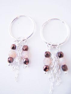 Silver hoop earrings, boho beaded earrings, boho hoop earrings, purple earrings, tiny silver hoop earrings, beaded hoop earrings, boho chic by SoulfulLeeYours on Etsy