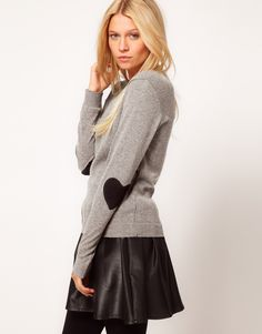 heart elbow-patch sweater