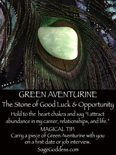 Green Aventurine is the stone of good luck and opportunity. #GreenAventurine #luck #opportunity #HeartChakra #GemWisdom #SageGoddess #metaphysical #aventurine