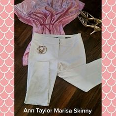 Ann Taylor Marisa Skinny ankle pants White, zip fly with hook and bar closure. Mid rise and slim throughout with narrow leg.  4th pic is for fit but not same color or design. Pants on sell have white brocade work as seen in pic 3. Great condition. Made of cotton and polyester. Machine wash. Ann Taylor Pants Ankle & Cropped