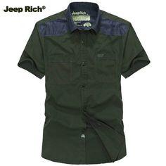 Jeep Rich Plus Size Summer Mens Casual Short Sleeve Shirt Cotton Slim Fit Short Sleeve Shirts at Banggood