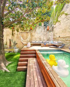 Small Backyard Design, Backyard Pool Designs, Small Backyard Landscaping, Backyard Ideas, Small Pool Backyard, Pool With Deck, Small Garden With Pool Ideas, Outdoor Pool, Back Yard Design