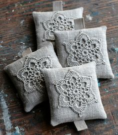 Lavender sachets crochet motif set of 4 van namolio op Etsy