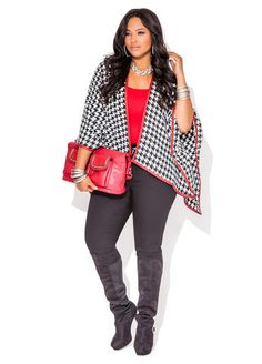 Ashley Stewart Pleather Trimmed Houndstooth Wrap, Black Jeggings, Chain Trim 2-Pocket Tote and Web Exclusive Over-The-Knee Platform Boot