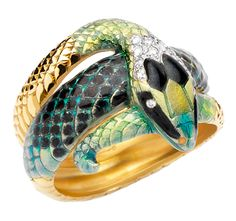 Cellini Jewelers Masriera Snake Ring. 18-karat yellow gold ring with brilliant-cut diamonds and fired enamel.