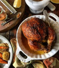 Berbere Chicken - Ingredients 1 lemon 1 tbsp Berbere Spice blend 1 tbsp kosher salt 1 @ 3 lb kg) chicken patted dry with paper towel 3 tbsp butter softened Roast Chicken Recipes, Roasted Chicken, Berbere Spice, African Spices, Summer Recipes, Meals, Dinners, Main Dishes, Healthy Recipes