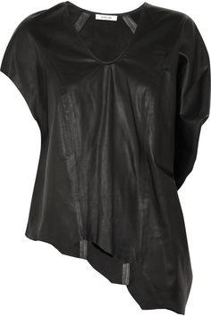 Helmut Lang Asymmetric leather top  #THEOUTNET #FashionMath