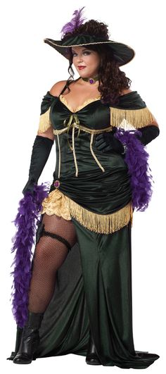 Our women's Plus Size Saloon Madame Costume includes a long dark hunter green dress featuring off-the-shoulder cap sleeves, gold fringe trim and high front split to the hip revealing gold ruffle underskirt detail with purple jewel brooch, green ribbon choker with purple jewel brooch and a black sun hat with large ruffled brim, gold trim and purple feather. Kick up your heels as a provocative showgirl or hang on the arm of your favorite gunslinger.