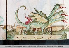 Wintertime scene: Dragons out for a sleigh ride. Well, maybe a sleigh of dragons for carnival time in Nuernberg. Medieval Dragon, Medieval Art, Medieval Manuscript, Illuminated Manuscript, Dragon History, Early Modern Period, Modern Prints, Winter Time, Folklore