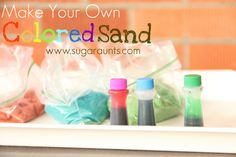 Make your own colored sand for play, crafts, and handwriting practice. By The Sugar Aunts