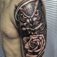 """Done today #fresh #onesession """"Another art of the owl""""  @santi3albelo #davidgarciatattoo #sullenclothing #killerinktatttoo"""