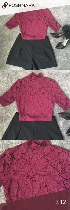 Plum lace crop top !! Plum lace crop top !! Great condition only worn once ! Size small ! Tops Crop Tops