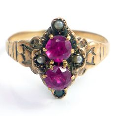 10K Rose Gold Antique Victorian CT Ruby and Seed Pearl Ring