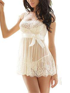 Ruzishun Women s Sexy Lingerie White Lace Nightwear Perspective Sleepwear  Underwear (XXL) White Babydoll Lingerie b526dcb3c