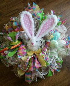 Happy Easter 20 Inch Bunny Wreath By NancysNowandForever On Etsy