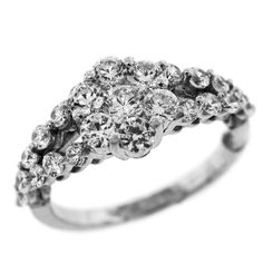 1.50 Cttw Round Diamonds Flower Shaped Engagement Ring in 14K White Gold by…