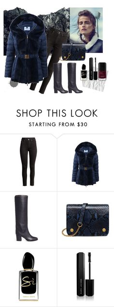 """""""Winter puffer jacket"""" by fashionlili ❤ liked on Polyvore featuring Blumarine, Jimmy Choo, Mulberry, Giorgio Armani and Marc Jacobs"""