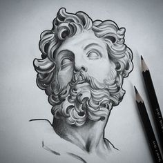 Discover recipes, home ideas, style inspiration and other ideas to try. Zeus Tattoo, Statue Tattoo, Tattoo Sketches, Tattoo Drawings, Drawing Sketches, Art Drawings, Colombe Tattoo, Statue Art, Kunst Tattoos