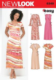 Womens Wrap Dress Pattern 6349 New Look Patterns This would be cute with various fabrics/colors