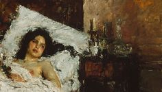 """Antonio Mancini: """"Aurelia"""", 1887,  oil on canvas, Dimensions:60.9 × 100 cm (24 × 39.4 in), Current location: Art Institute of Chicago."""