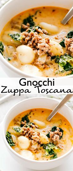 Gnocchi Zuppa Toscana Recipe - Loaded with Italian sausage, bacon, tender gnocchi, and fresh kale, this creamy Tuscan Soup is a bowl packed with comfort and flavor. If you like Olive Garden's Zuppa… More