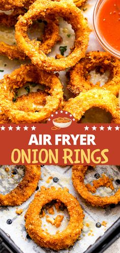 Crunchy, golden onion rings are breaded with flour, milk, panko, and seasonings, before air-frying to a crispy perfection! SO GOOD, and healthier!!