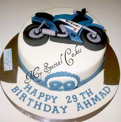 2D Blue Motorbike Cake