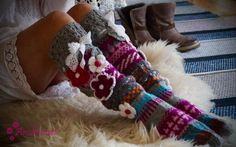 Thigh High Socks, Thigh Highs, Leg Warmers, Loom, Crocheting, Projects To Try, Slippers, Ankle, Flower