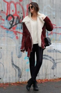 Shop this look on Lookastic:  http://lookastic.com/women/looks/sunglasses-crew-neck-sweater-shearling-jacket-crossbody-bag-leggings-ankle-boots/5735  — Black Sunglasses  — Beige Crew-neck Sweater  — Burgundy Shearling Jacket  — Black Quilted Leather Crossbody Bag  — Black Leather Leggings  — Black Leather Ankle Boots