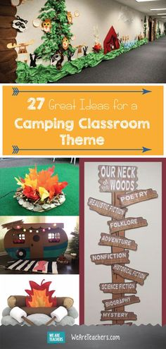 27 Great Ideas for a Camping Classroom Theme: Camping Theme Bulletin boards, Door decorations, and camping theme school supplies. - New Deko Sites Forest Classroom, Outdoor Classroom, Classroom Door, Kindergarten Classroom, Camping Theme For Classroom, Preschool Camping Theme, Camp Out Vbs, Classroom Teacher, Classroom Behavior