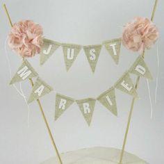 "Rustic wedding Cake topper, wedding, Blush, Linen cake bunting ""Just Married"" Banner H153 - shabby chic cake banner"