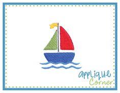 Sailboat Filled Mini Embroidery Design