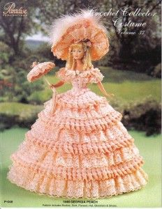 crocheted 11 1/2 inch doll clothes | Crochet Costume Pattern Civil War Southern Belle Fits 11 1/2 Fashion ...
