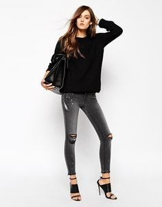 J Brand Cropped Raw Edge Skinny Jeans With Rips & Bleach Detail