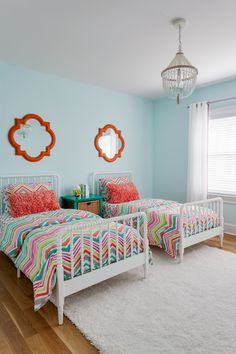 Superb quatrefoil bedding in Kids Transitional with Kids Room Paint next to Two Beds alongside Twin Bed and Two Twin Beds